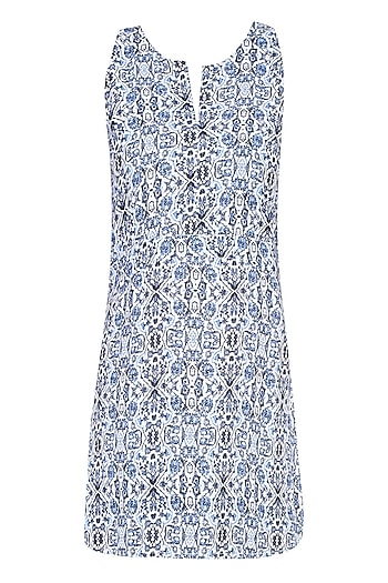 Blue Abstract Printed Sleeveless Top by Soutache