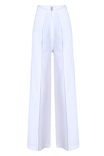 White Pleated Flared Pants by Soutache