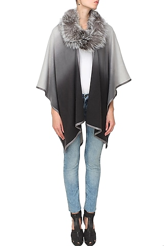 Grey to black ombre romancing the racoon cape by Soutache
