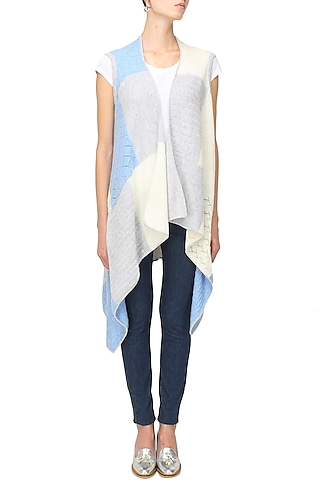 White, grey and blue intasia patchwork sleeveless cape by Soutache
