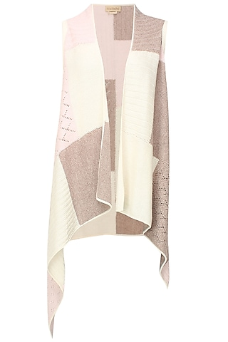 White, beige and pink intasia patchwork sleeveless cape by Soutache