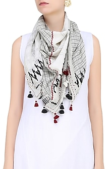 Natural and Cream Printed Sqaure Scarf by Soutache