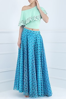 Blue Flower Print Skirt with Crop Top by Suvi Arya