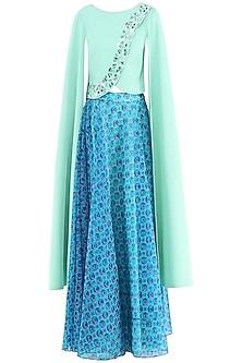 Blue Printed Skirt with Crop Top by Suvi Arya