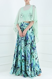 Blue Printed Skirt, Blouse and Cape Set by Suvi Arya