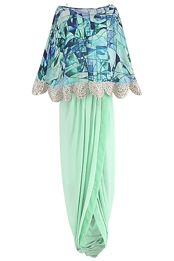 Mint Green Drape Skirt with Printed Cape by Suvi Arya