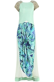 Mint Green Dhoti Pants with Corset and Net Train by Suvi Arya