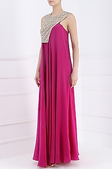 Pink Geometric Mirror Maze Gown by Suvi Arya