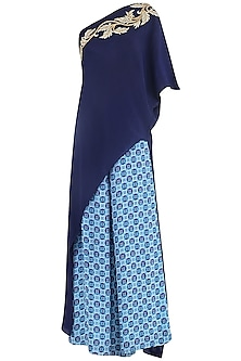 Blue Printed Palazzo Pants with Cape by Suvi Arya