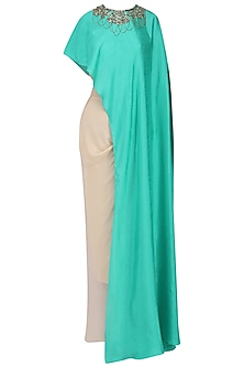 Peacock Green Embroidered Cape with Corset and Drape Skirt by Suvi Arya