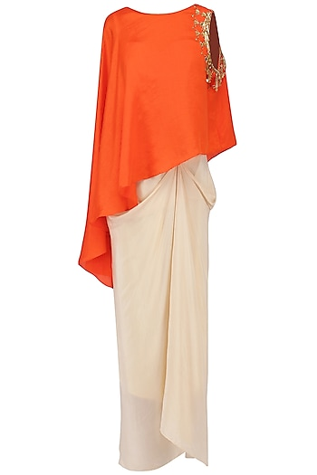Orange Mirror Embroidered Cape with Corset and Drape Skirt by Suvi Arya