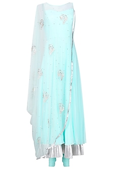 Aqua Blue Embroidered Cape Anarkali with Attached Dupatta by Suvi Arya