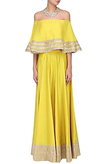 Yellow Gota Embroideted Crop Top and Skirt Set by Suvi Arya