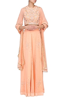 Peach Embroidered Cold Shoulder Lehenga Set by Suvi Arya