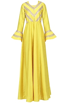 Yellow Gota Embroidered Bell Sleeves Gown by Suvi Arya