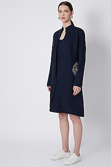 Midnight Blue Jacket With Bodycon Camisole by SVA BY SONAM & PARAS MODI