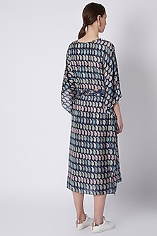 Persian Blue Printed Kaftan With Belt by SVA BY SONAM & PARAS MODI