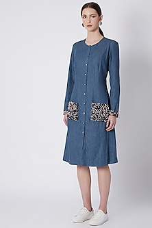 Blue Textured Jacket Dress by SVA BY SONAM & PARAS MODI