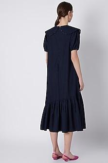 Midnight Blue Denim Midi Dress by SVA BY SONAM & PARAS MODI