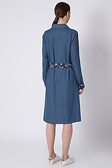 Blue Jacket Dress With Tie-Up Belt by SVA BY SONAM & PARAS MODI