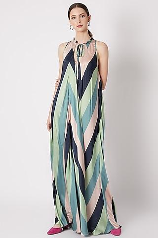 Midnight Blue Chevron Print Maxi Dress by SVA BY SONAM & PARAS MODI