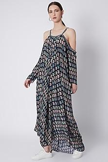 Persian Blue Paisley Print Dress by SVA BY SONAM & PARAS MODI