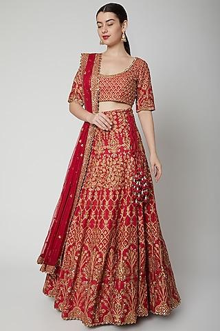 Red Embellished Lehenga Set by Sva By Sonam & Paras Modi
