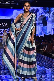 Multi-Colored Embroidered & Printed Saree Set With Cape by SVA BY SONAM & PARAS MODI-LAKMÉ FASHION WEEK S/R '20