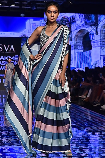 Multi-Colored Embroidered & Printed Saree Set With Cape by SVA BY SONAM & PARAS MODI