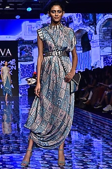 Multi-Colored Embroidered Draped Dress With Belt by SVA BY SONAM & PARAS MODI-LAKMÉ FASHION WEEK S/R '20