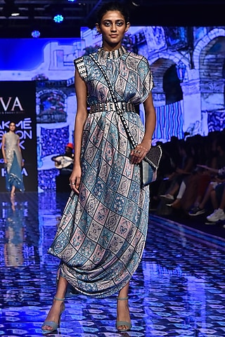 Multi-Colored Embroidered Draped Dress With Belt by SVA BY SONAM & PARAS MODI
