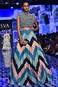 Multi-Colored Printed Lehenga With Textuted Blouse by SVA BY SONAM & PARAS MODI-LAKMÉ FASHION WEEK S/R '20