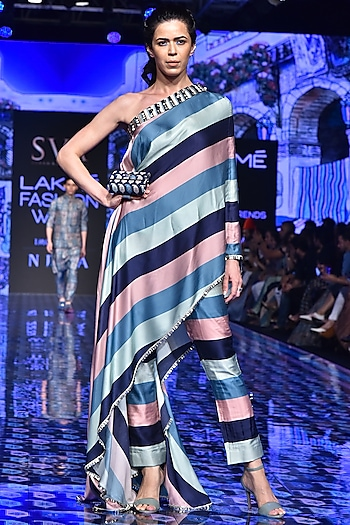 Multi-Colored Printed Draped Saree With Pants by SVA BY SONAM & PARAS MODI