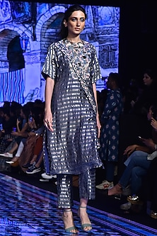 Midnight Blue Embroidered & Printed Kurta With Pants by SVA BY SONAM & PARAS MODI