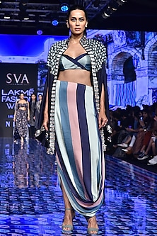 Midnight Blue Embellished Cape With Printed Skirt by SVA BY SONAM & PARAS MODI
