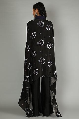 Black Printed Silk Cape by Sva By Sonam & Paras Modi