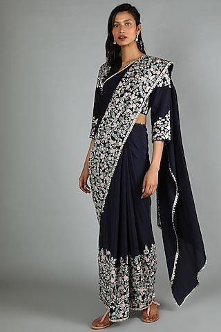 Midnight Blue Embellished Saree Set by Sva By Sonam & Paras Modi