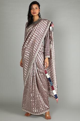 Maroon Printed Saree Set by Sva By Sonam & Paras Modi