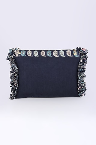 Cobalt Blue Printed Bag by Sva By Sonam & Paras Modi