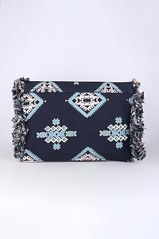 Cobalt Blue Printed Sling Bag by Sva By Sonam & Paras Modi