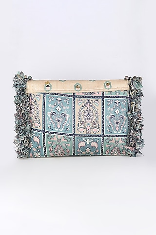 Cobalt Blue Printed & Embroidered Bag by Sva By Sonam & Paras Modi