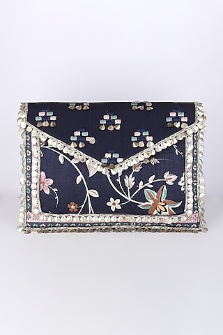 Cobalt Blue Embroidered & Printed Sling Bag by Sva By Sonam & Paras Modi