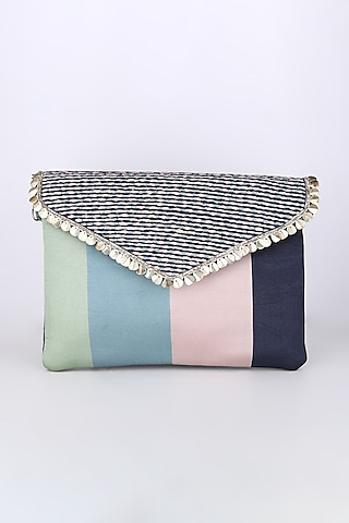 Cobalt Blue Striped Printed Bag by Sva By Sonam & Paras Modi