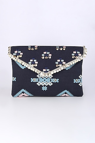 Cobalt Blue Embroidered Sling Bag by Sva By Sonam & Paras Modi