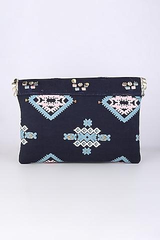 Cobalt Blue Embroidered Sling Bag by Sva By Sonam & Paras Modi