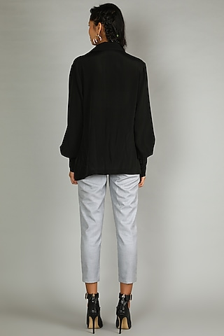 Black Shirt With Gathered Sleeves by Sva By Sonam & Paras Modi