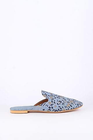 Blue Pot Printed Mules Shoes by Sva By Sonam & Paras Modi