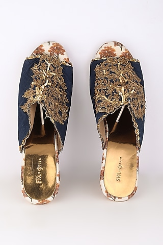 Blue Embroidered & Printed Heels by Sva By Sonam & Paras Modi