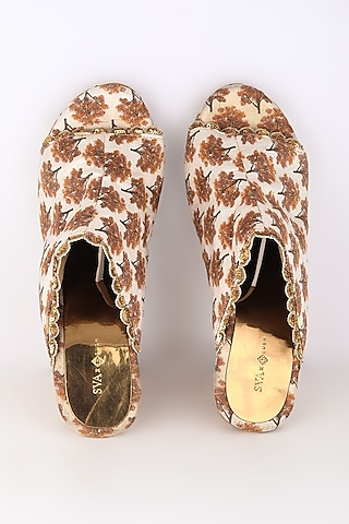 White Embroidered & Printed Heels by Sva By Sonam & Paras Modi