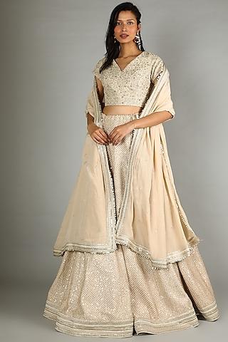 Beige & Golden Embellished Lehenga Set by Sva By Sonam & Paras Modi